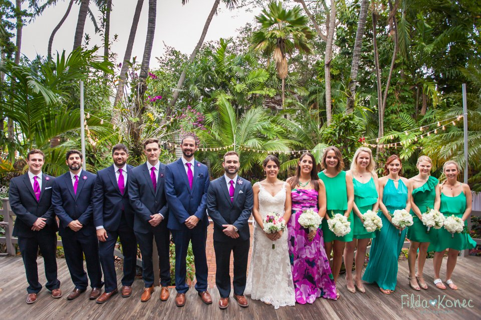 bridal party photo at audubon house in key west, florida