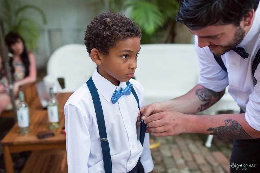 little boy getting ready for wedding