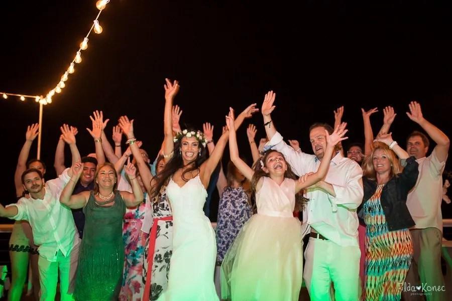wedding party having fun at the reception