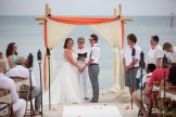 bride and groom at altar on key west beach
