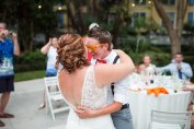bride and groom have good time at their reception