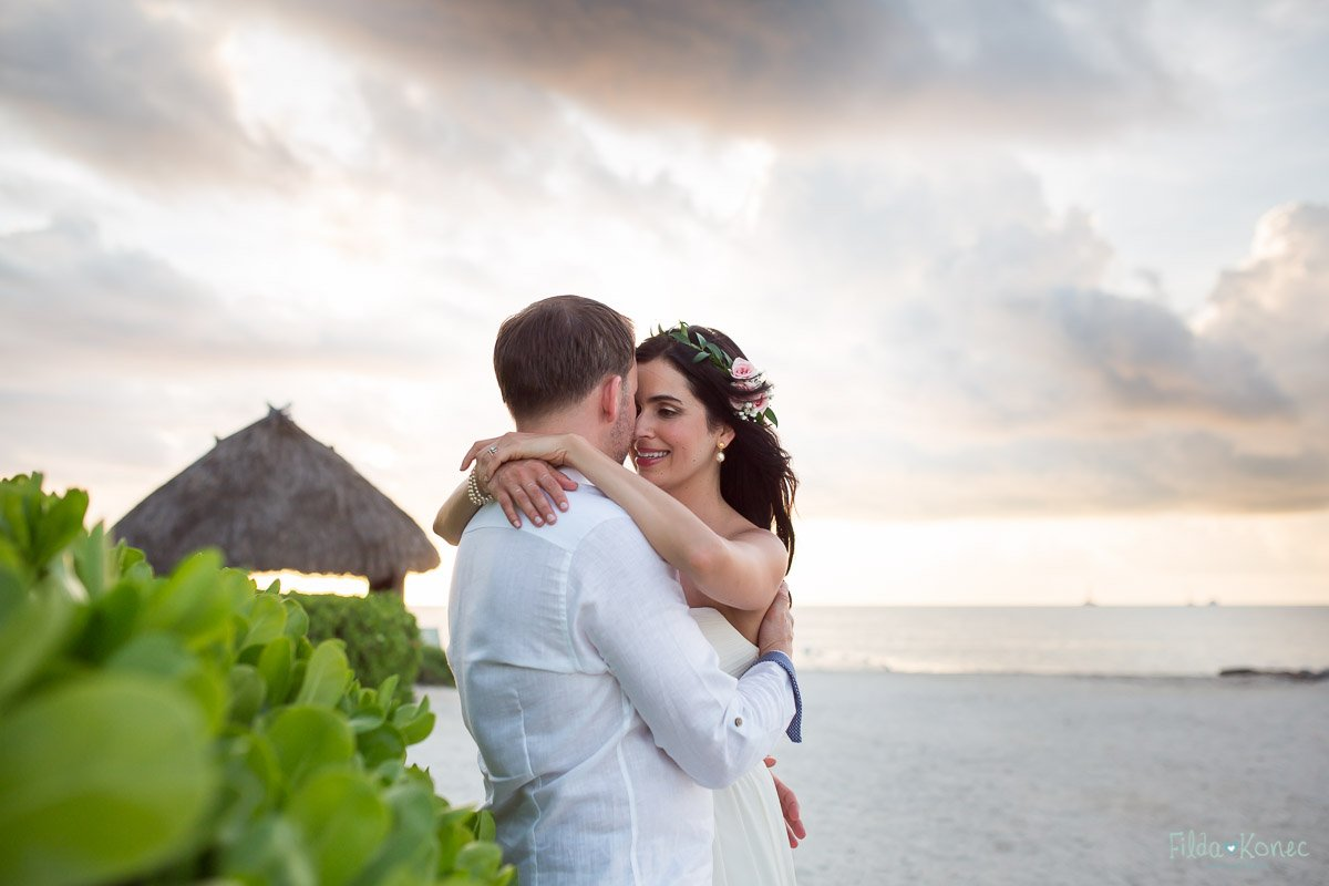 beautiful couple with dramatic sky in the background