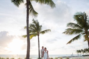 wedding photo with palm trees