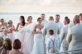 bride is smiling at her groom during their key west hyatt wedding