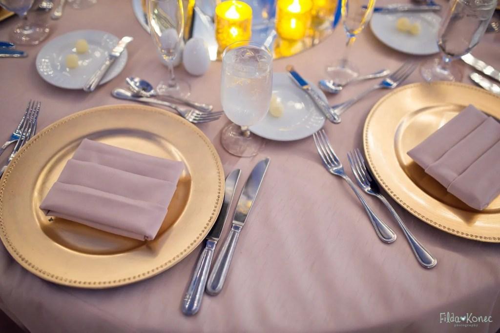 wedding table setup at beach reception
