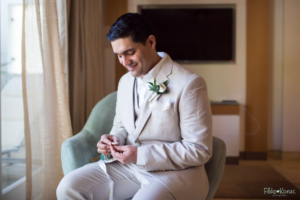 groom with his gift