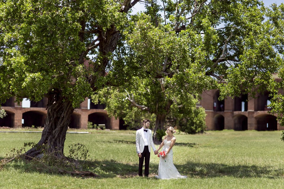 photo of bride and groom with trees in south florida wedding