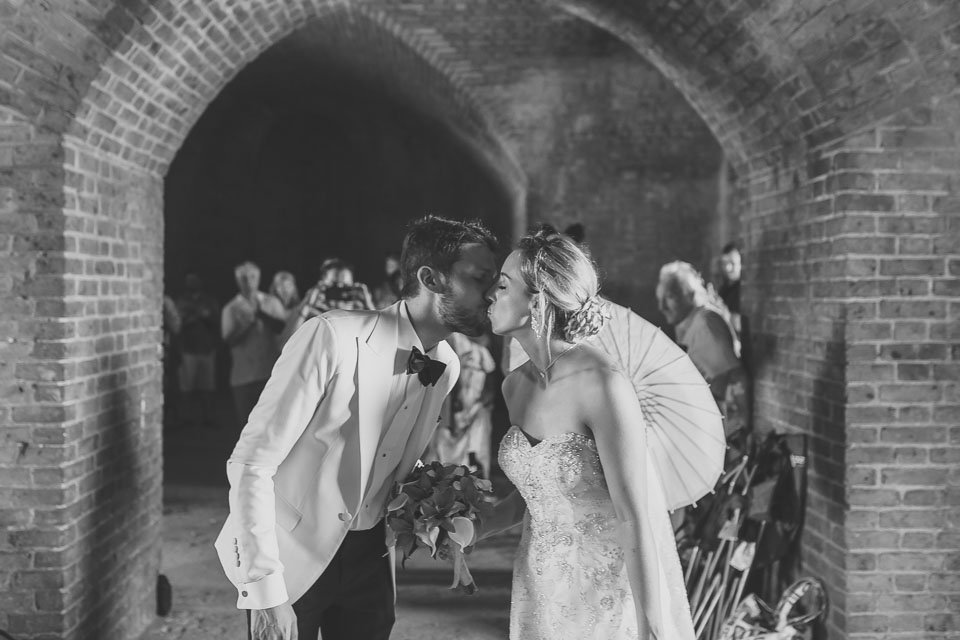 husband and wife at fort jefferson wedding key west wedding photographer
