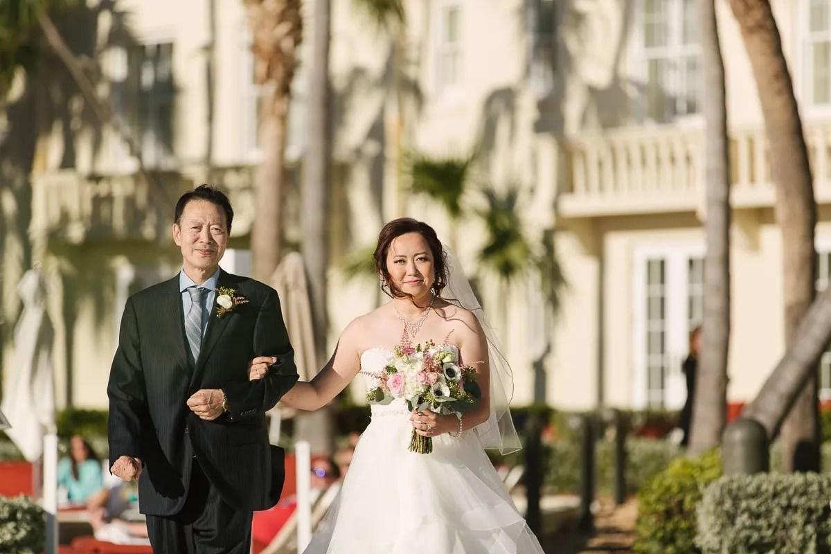 bride walks to the altar