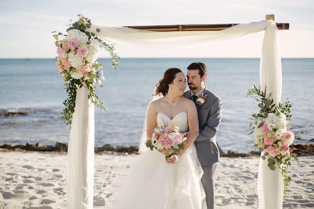 bride and groom at their florida keys wedding