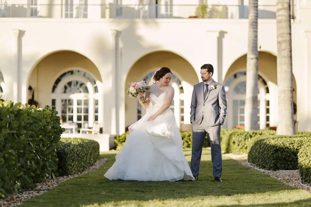 bride showing her dress at casa marina key west