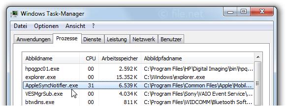 AppleSyncNotifier.exe Windows Prozess - Was ist das?