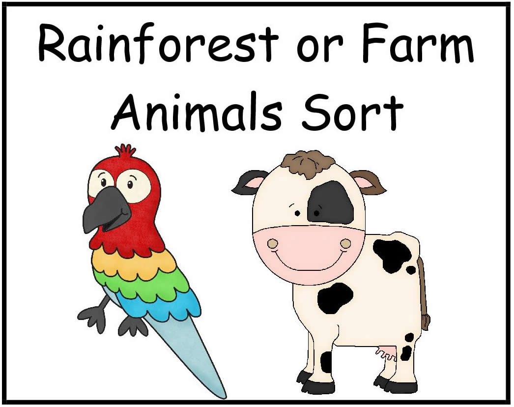 Rainforst Animals Or Farm Animals Sort File Folder Game