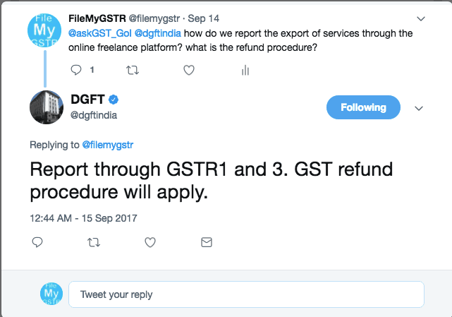 DGFT on GST