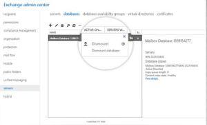 dismount exchange database