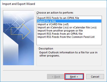 export eml to pst