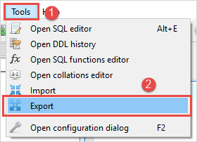 export items from sqlite