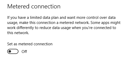 outlook metered connection off
