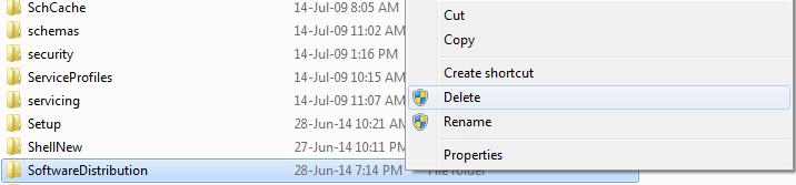 delete software distribution folder