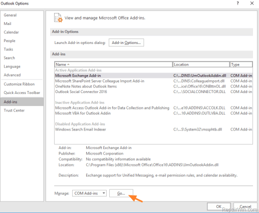 disable outlook add-ins in safe mode
