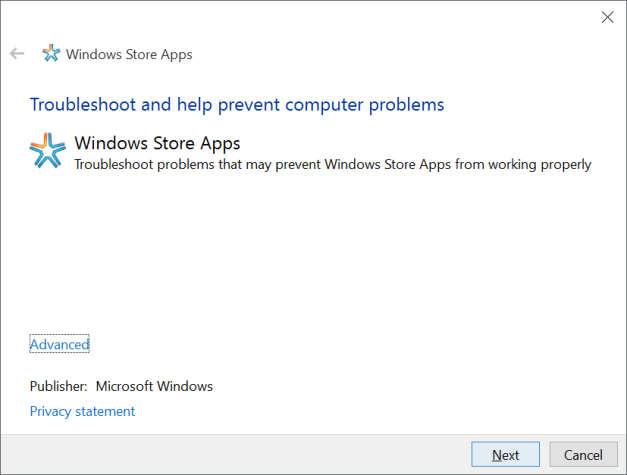 resolve windows 10 store apps issue