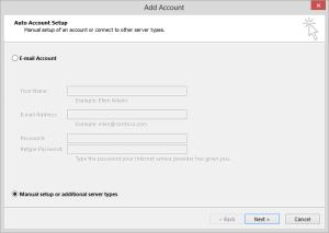 manually add aol account