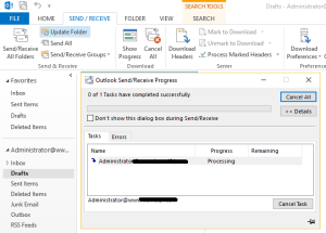 outlook offline folder sync with exchange server