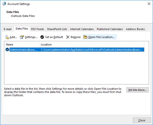 delete outlook ost data file