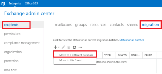 move mailbox to different database