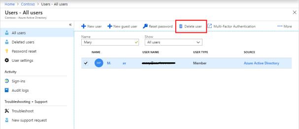 office 365 delete user mailbox