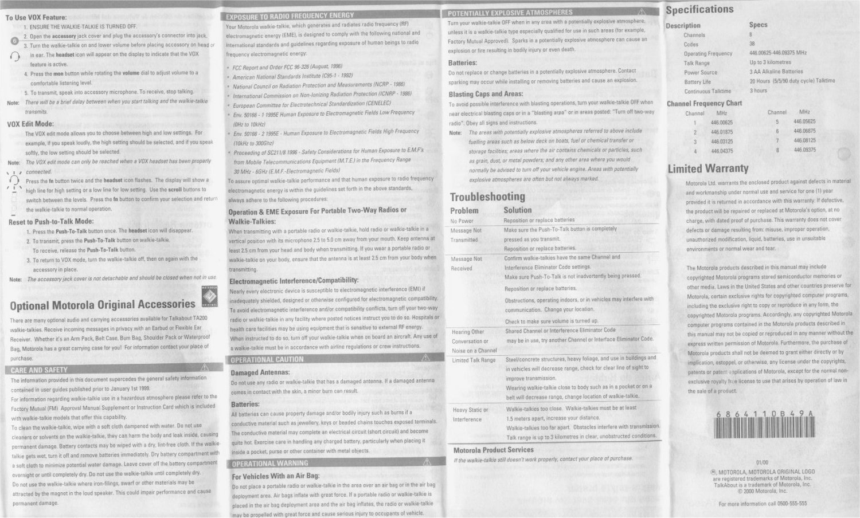 Motorola Walkie Talkie Manual : Free Programs, Utilities