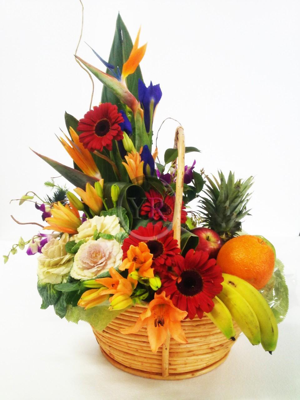 FilGiftShop Flowers And Fruit Gift Basket FilGiftShop