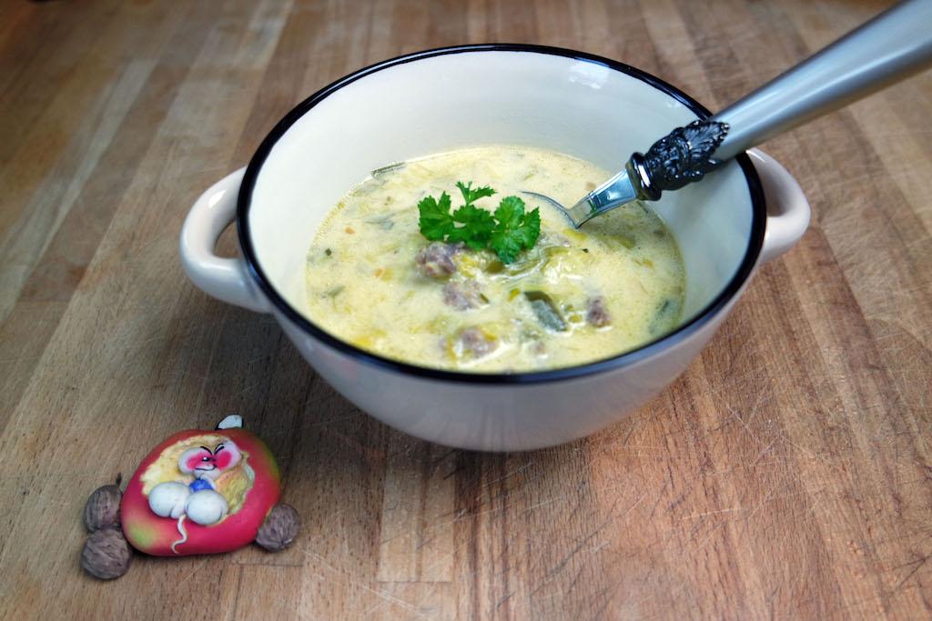 Käsesuppe à la Opa Dodderich, lecker essen mit der Diddl Maus