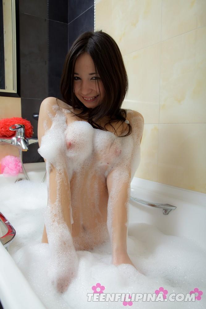 Petite LBFM mixed girl Marija in the shower  Filipina