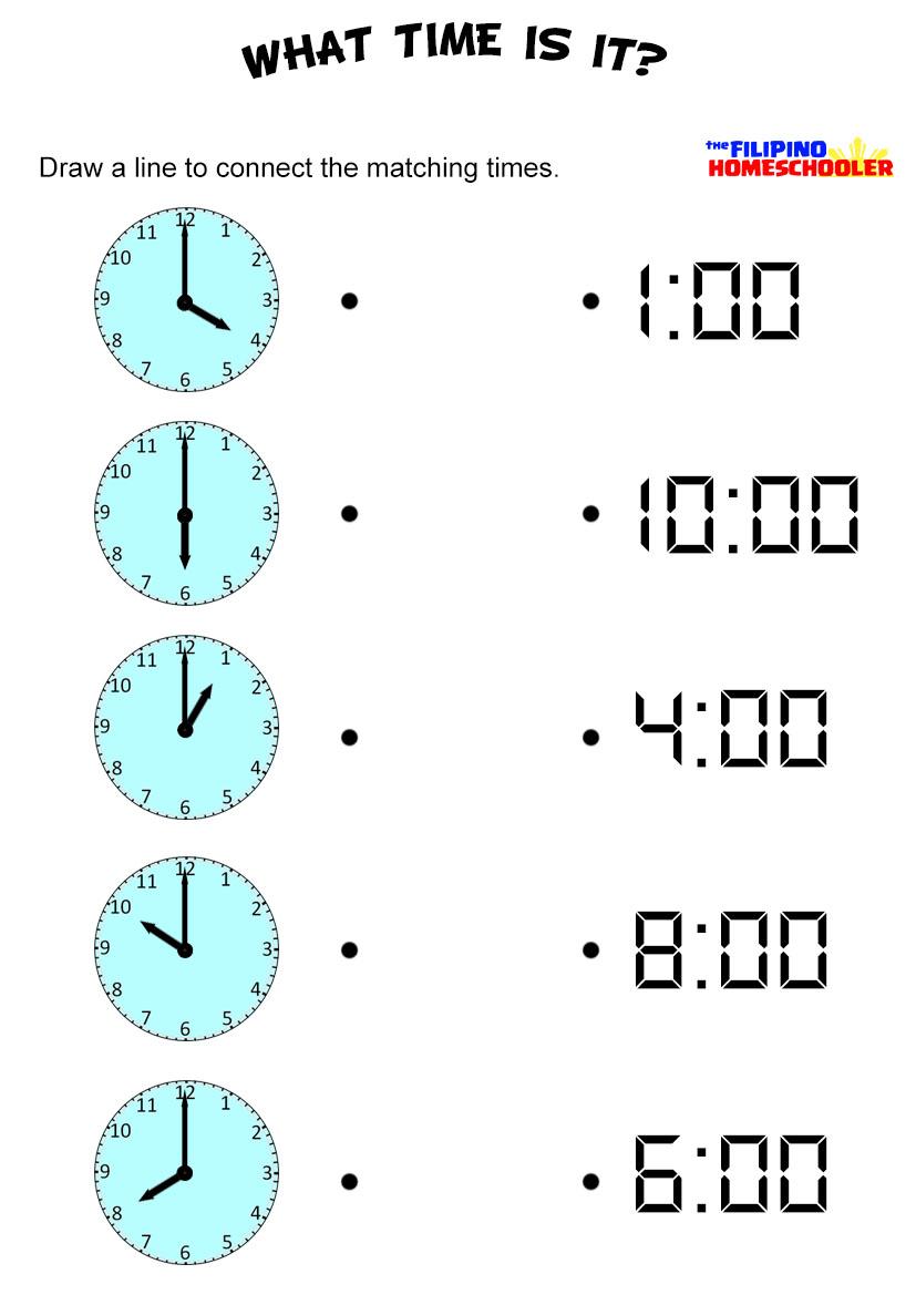 Tell G Time By Hour W Ksheet Filip O Homeschooler