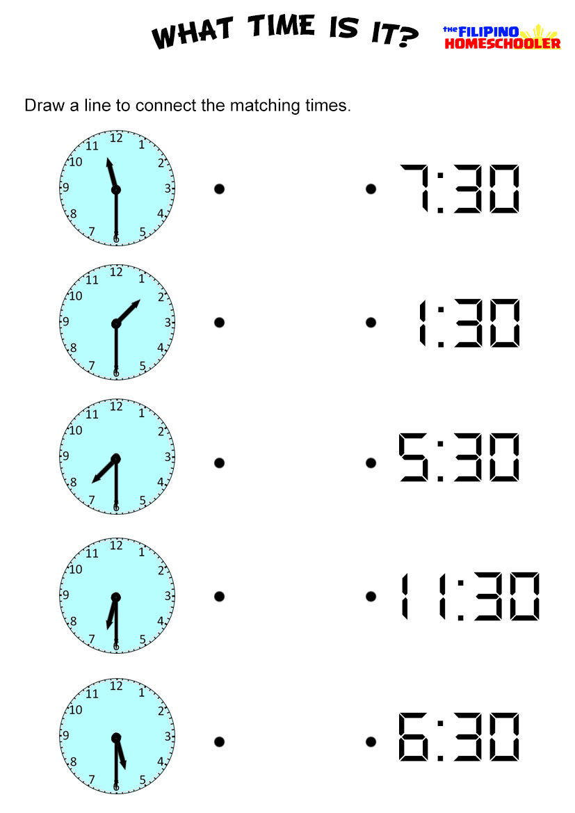 medium resolution of Telling Time By The Half Hour Worksheet — The Filipino Homeschooler