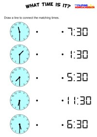 Telling Time By The Half Hour Worksheet  The Filipino ...