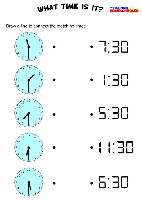 small resolution of Telling Time By The Half Hour Worksheet — The Filipino Homeschooler