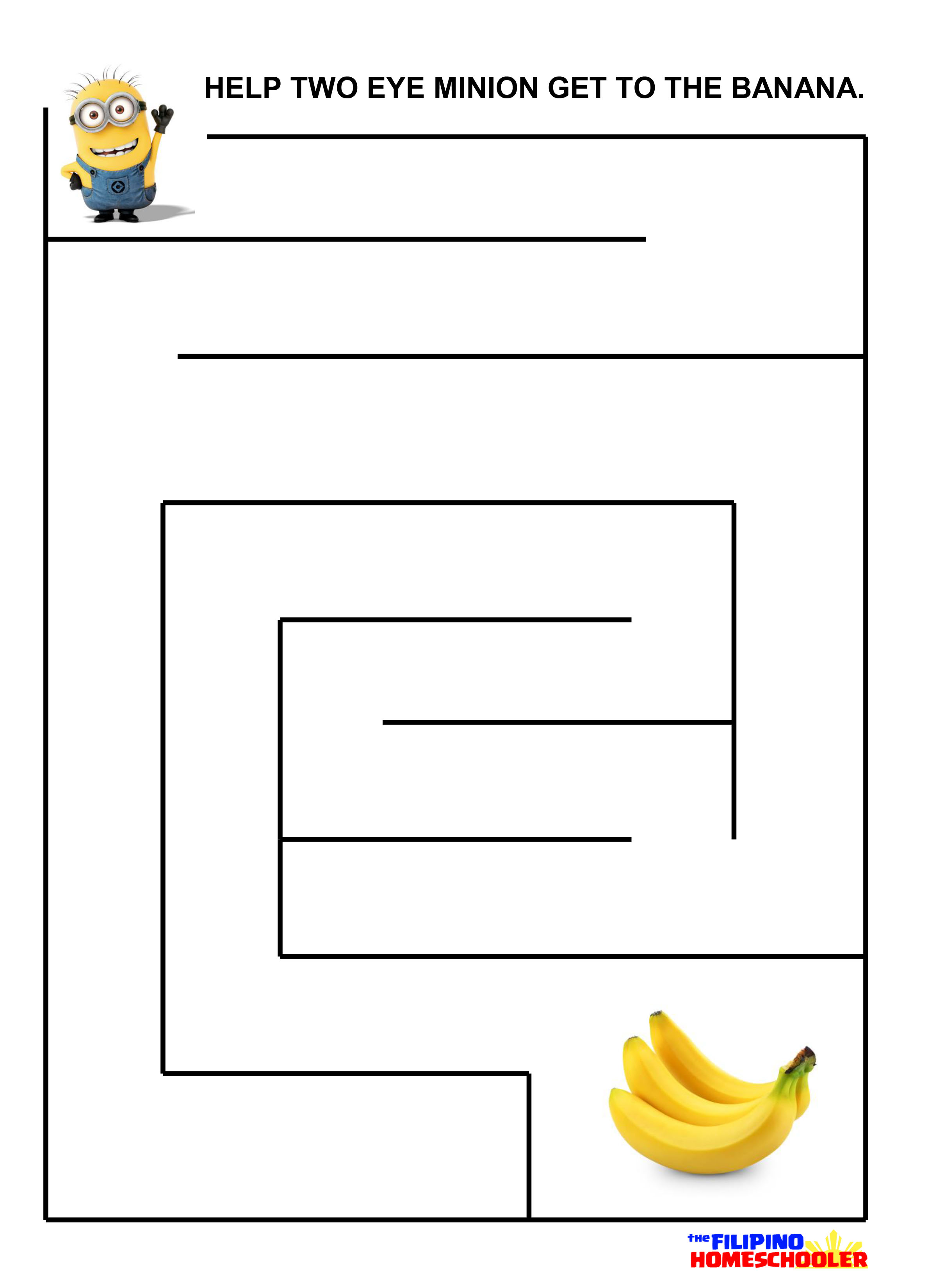 Free The Minions Mazes Printables The Filipino Homeschooler