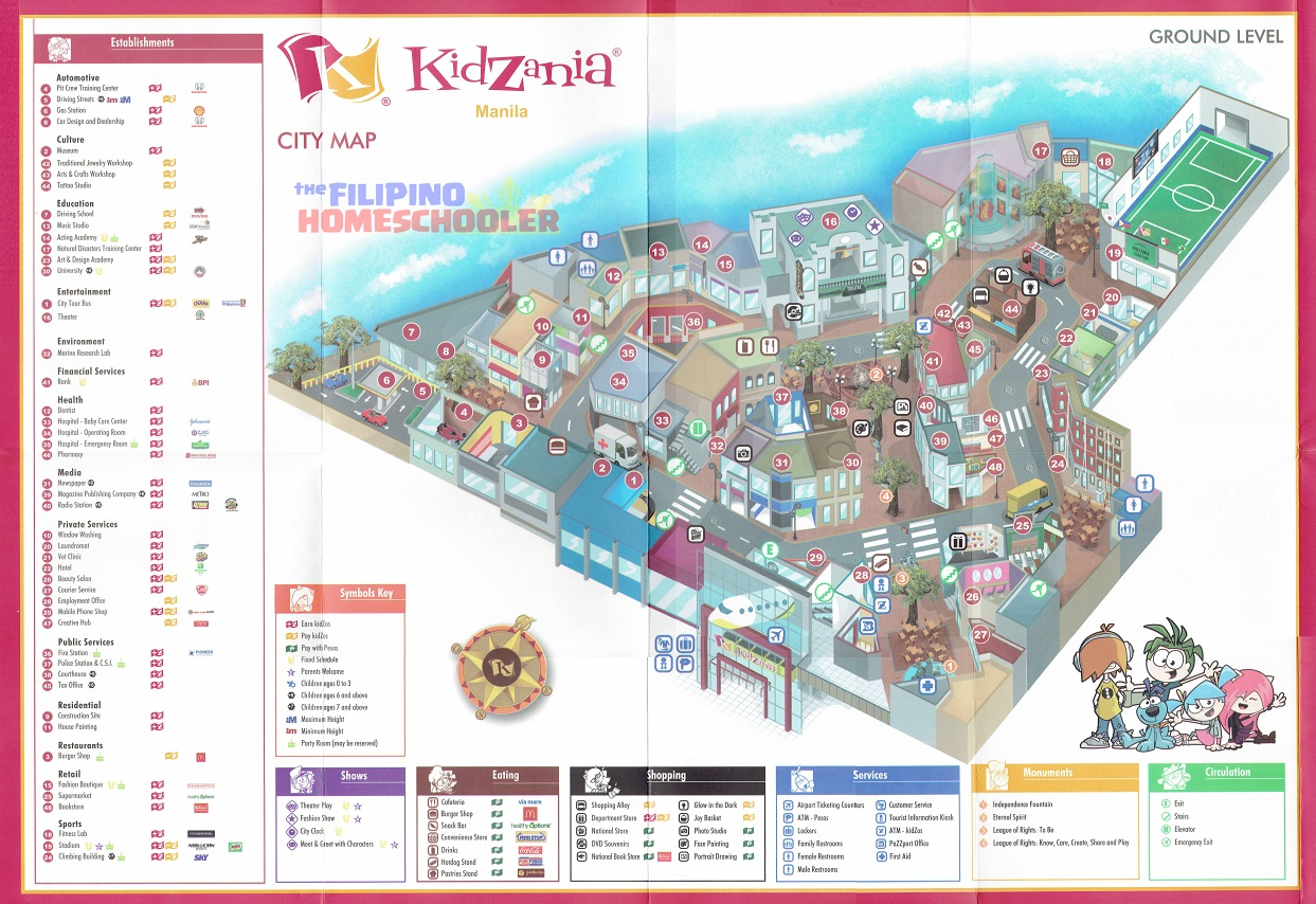 Kidzania Map And Activities The Filipino Homeschooler