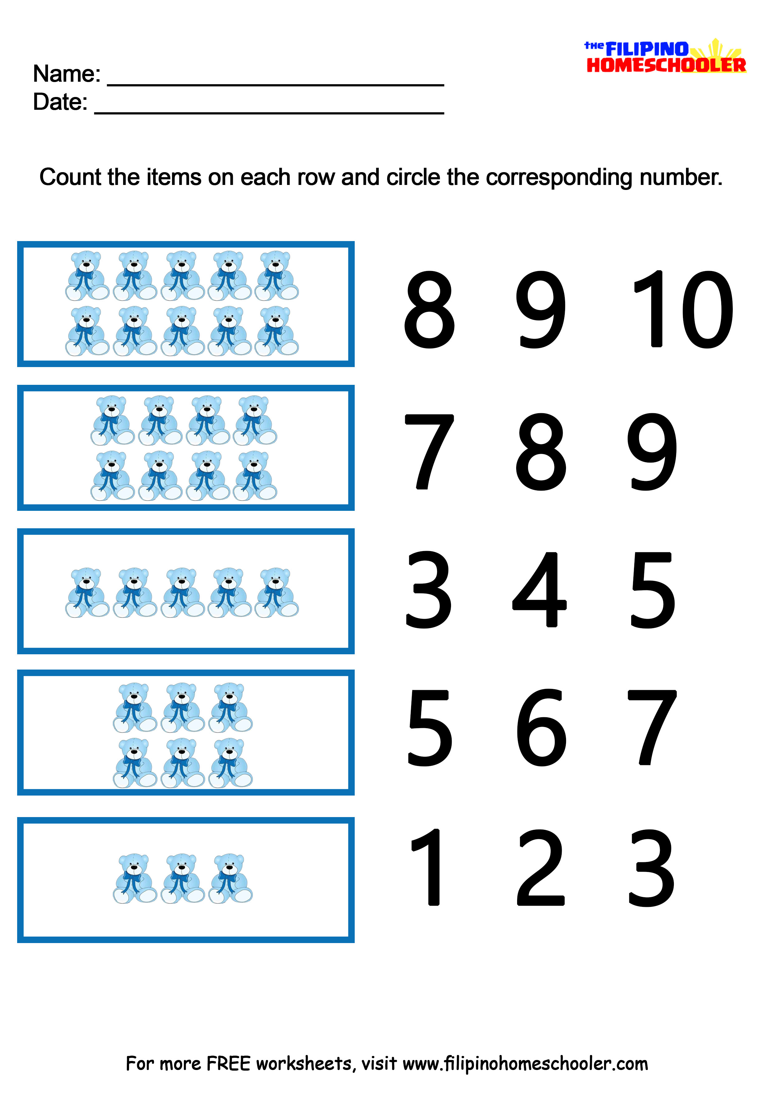 Number Recognition Worksheets 1 10
