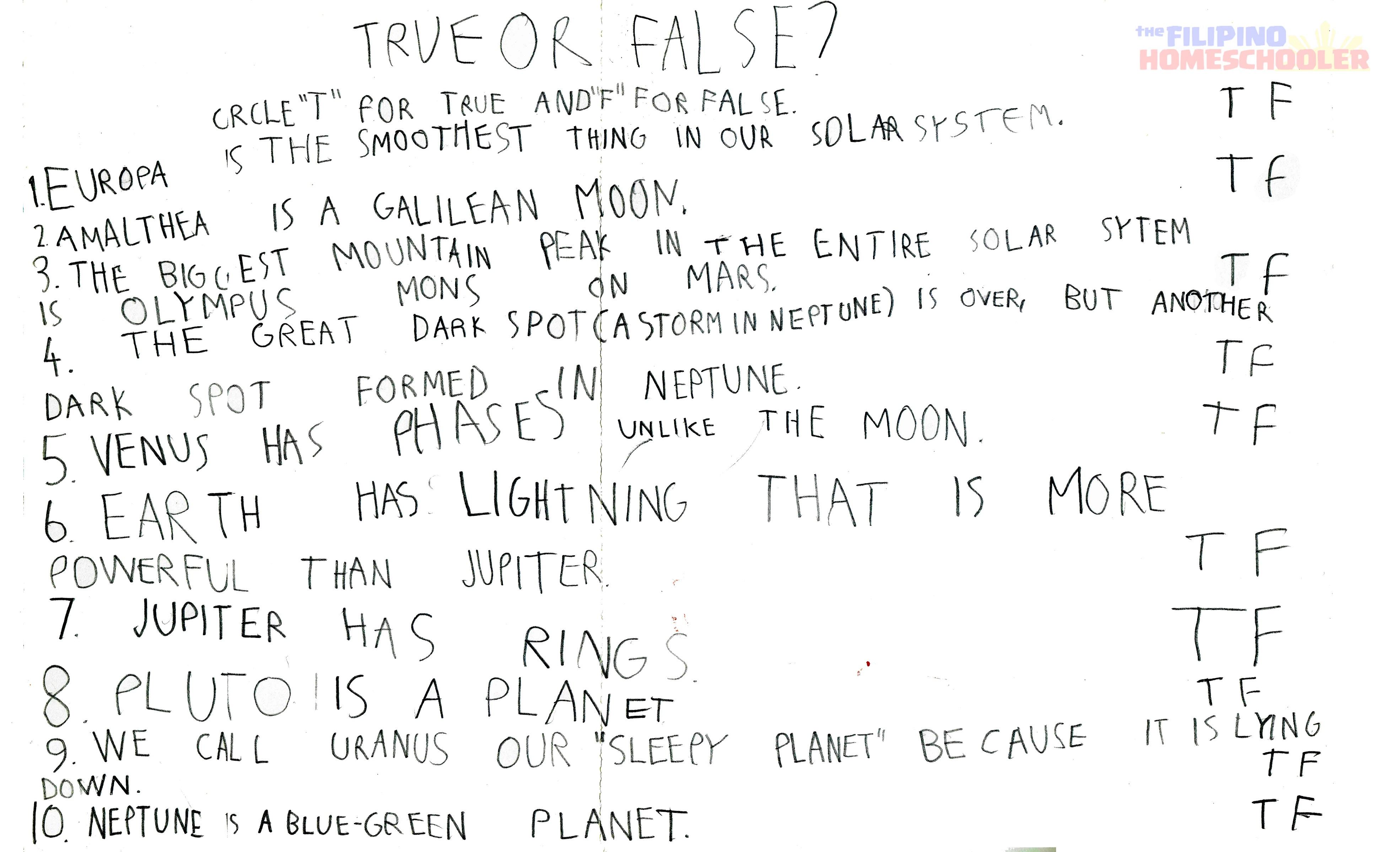 Gab S Grade 1 Astronomy Worksheet