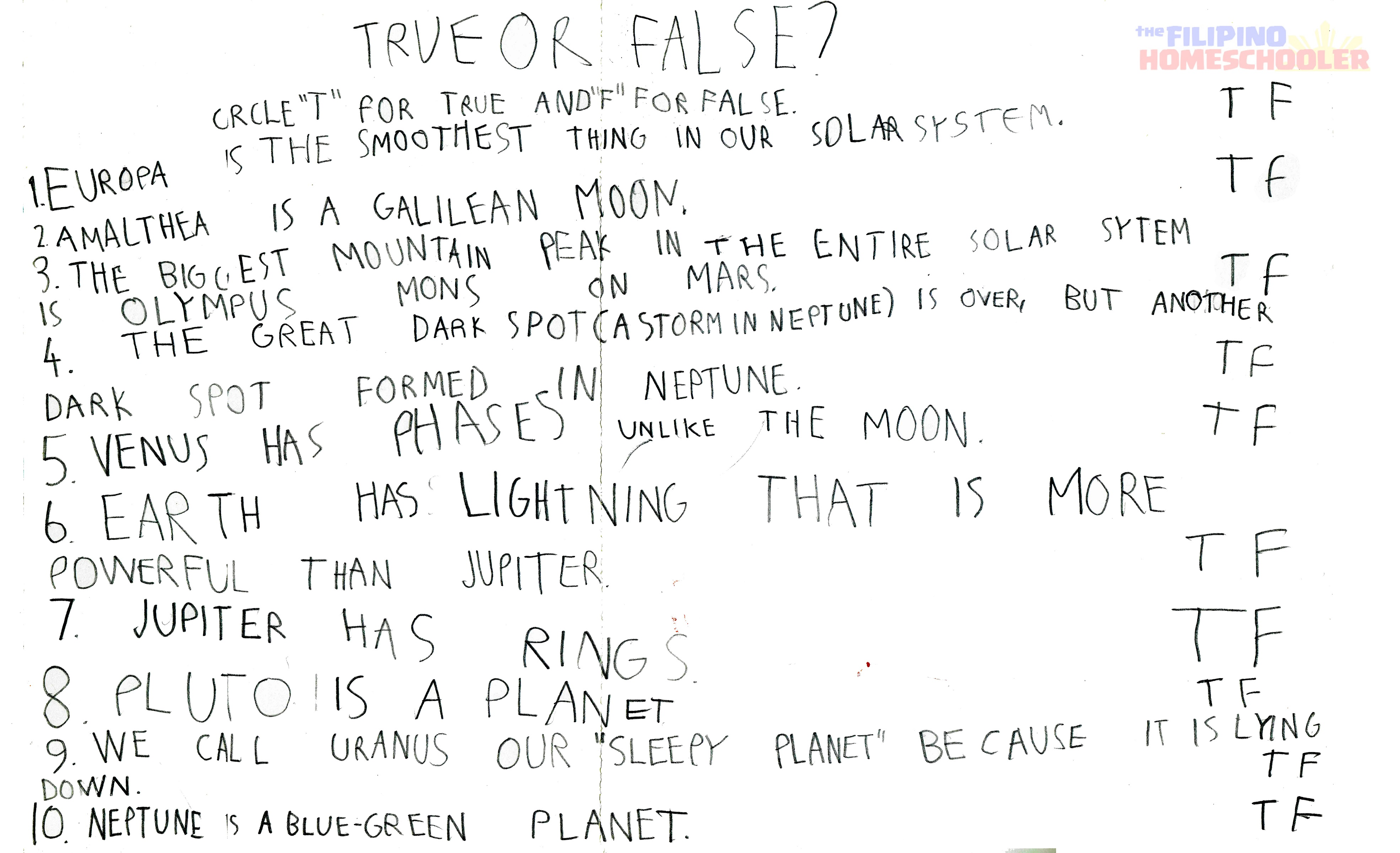 Gab S Grade 1 Astronomy Worksheet The Filipino Homeschooler