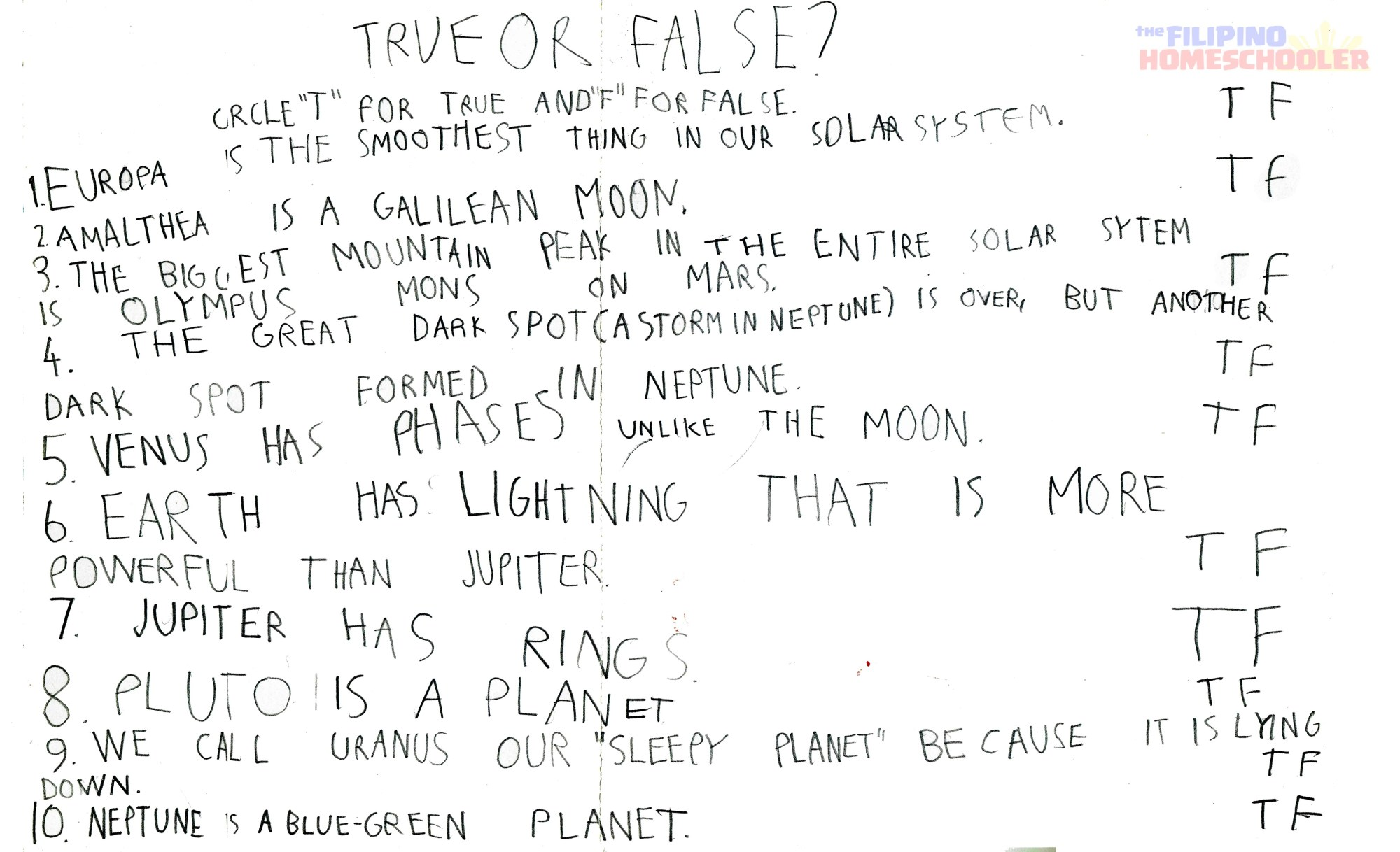 hight resolution of Gab's Grade 1 Astronomy Worksheet — The Filipino Homeschooler