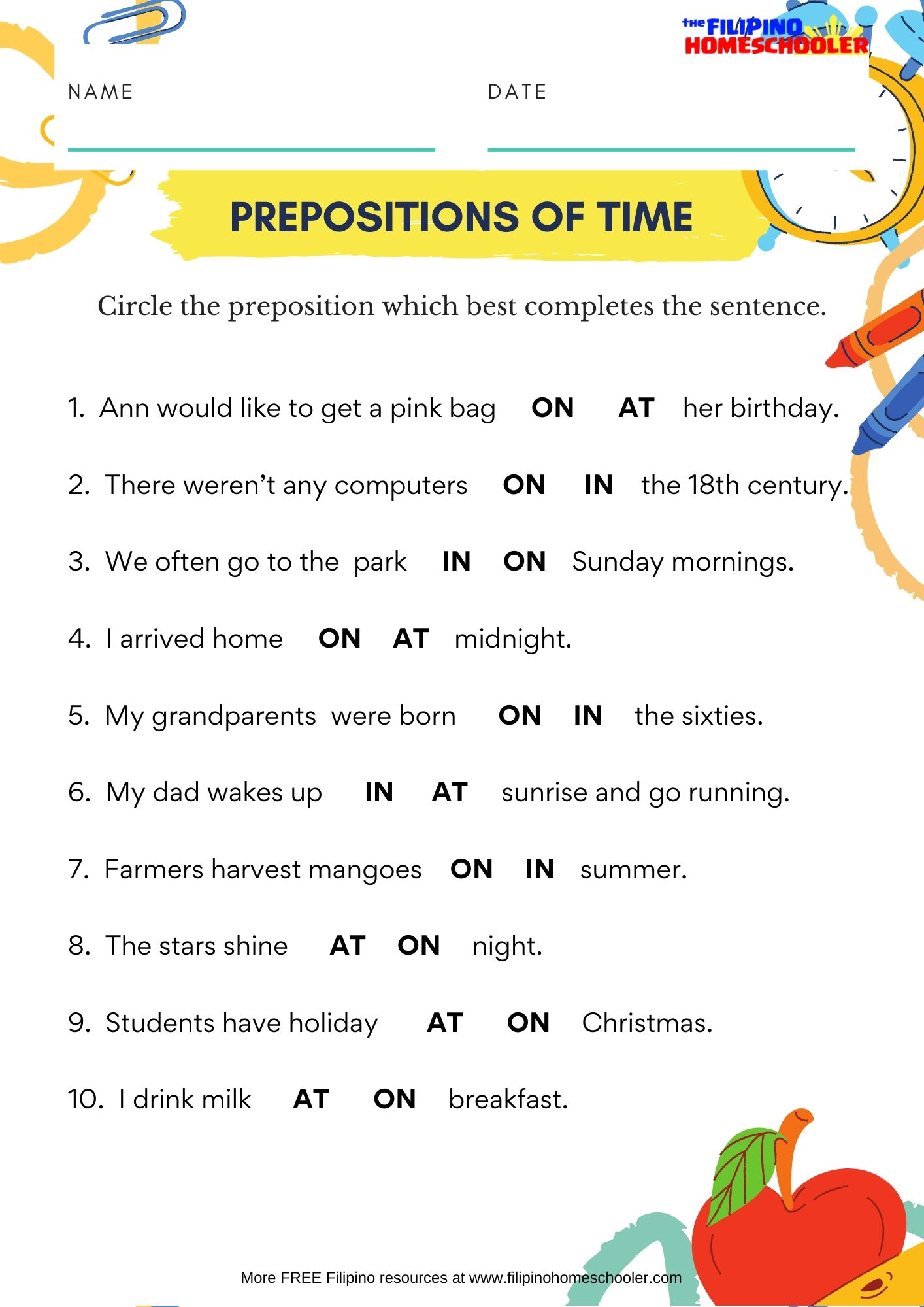 In On At Prepositions Of Time Worksheet