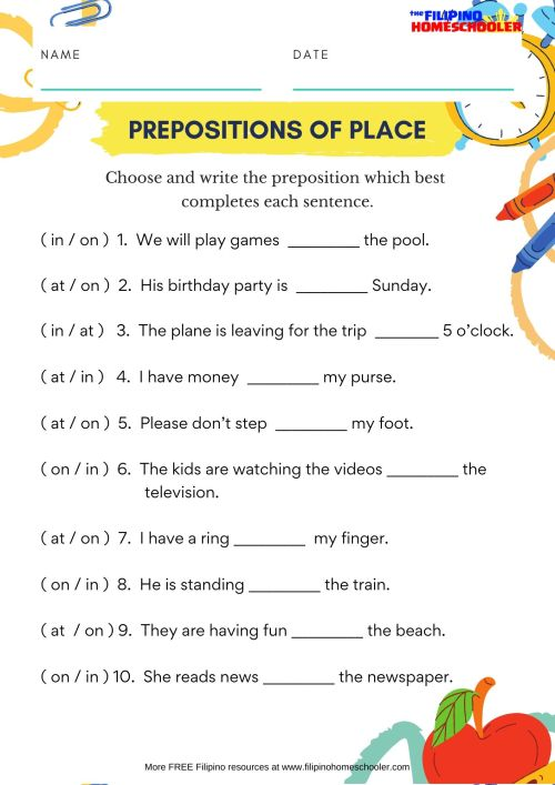small resolution of French Prepositions Of Location Worksheet   Printable Worksheets and  Activities for Teachers