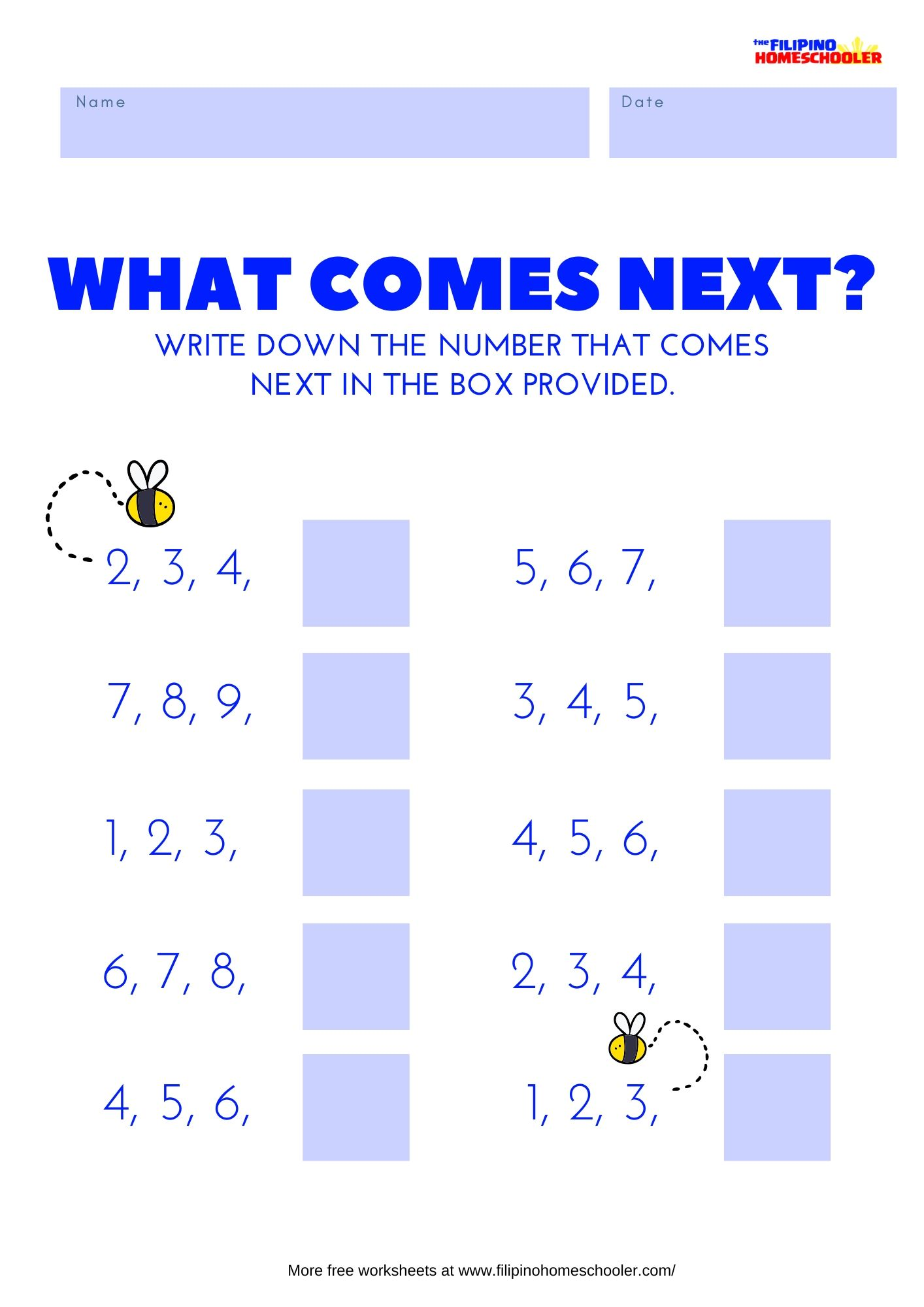 Math Number Sequence Worksheet Set 1