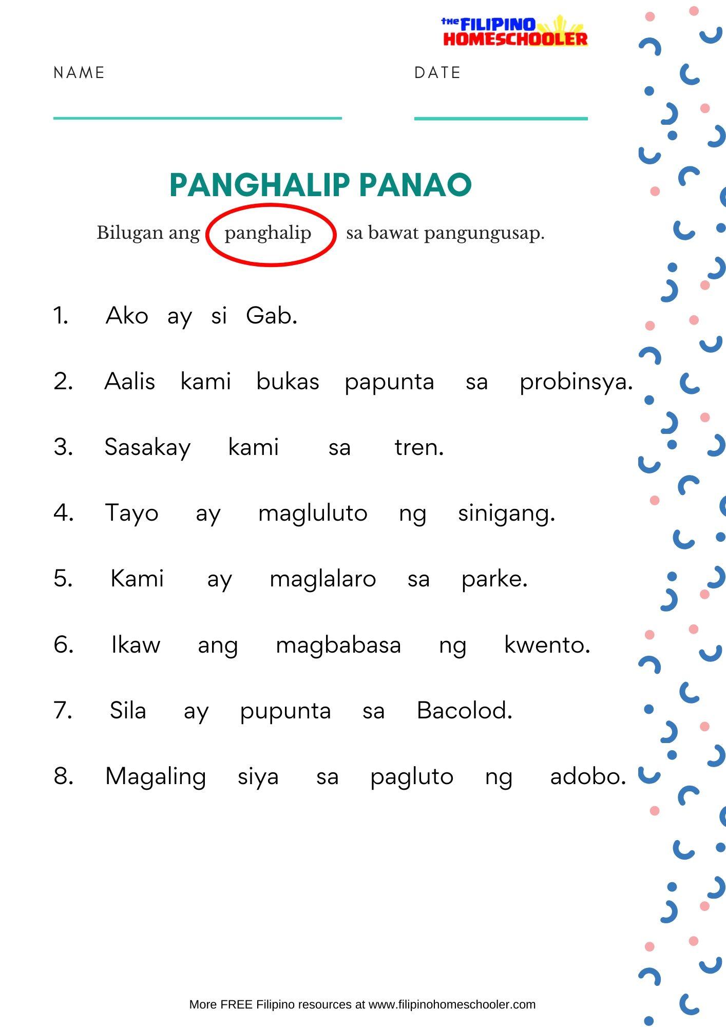hight resolution of Free Panghalip Panao Worksheet SET 1 — The Filipino Homeschooler