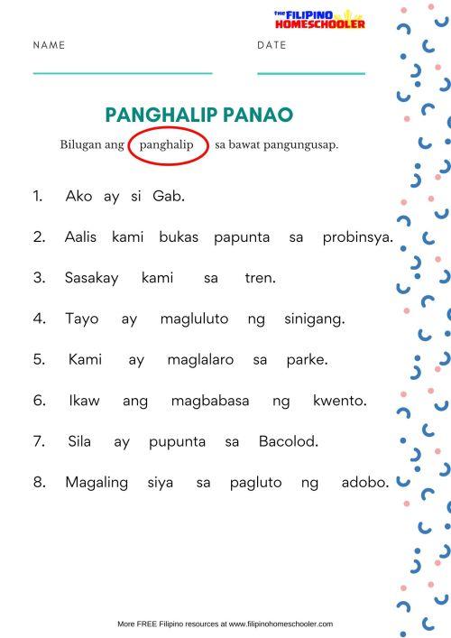small resolution of Free Panghalip Panao Worksheet SET 1 — The Filipino Homeschooler