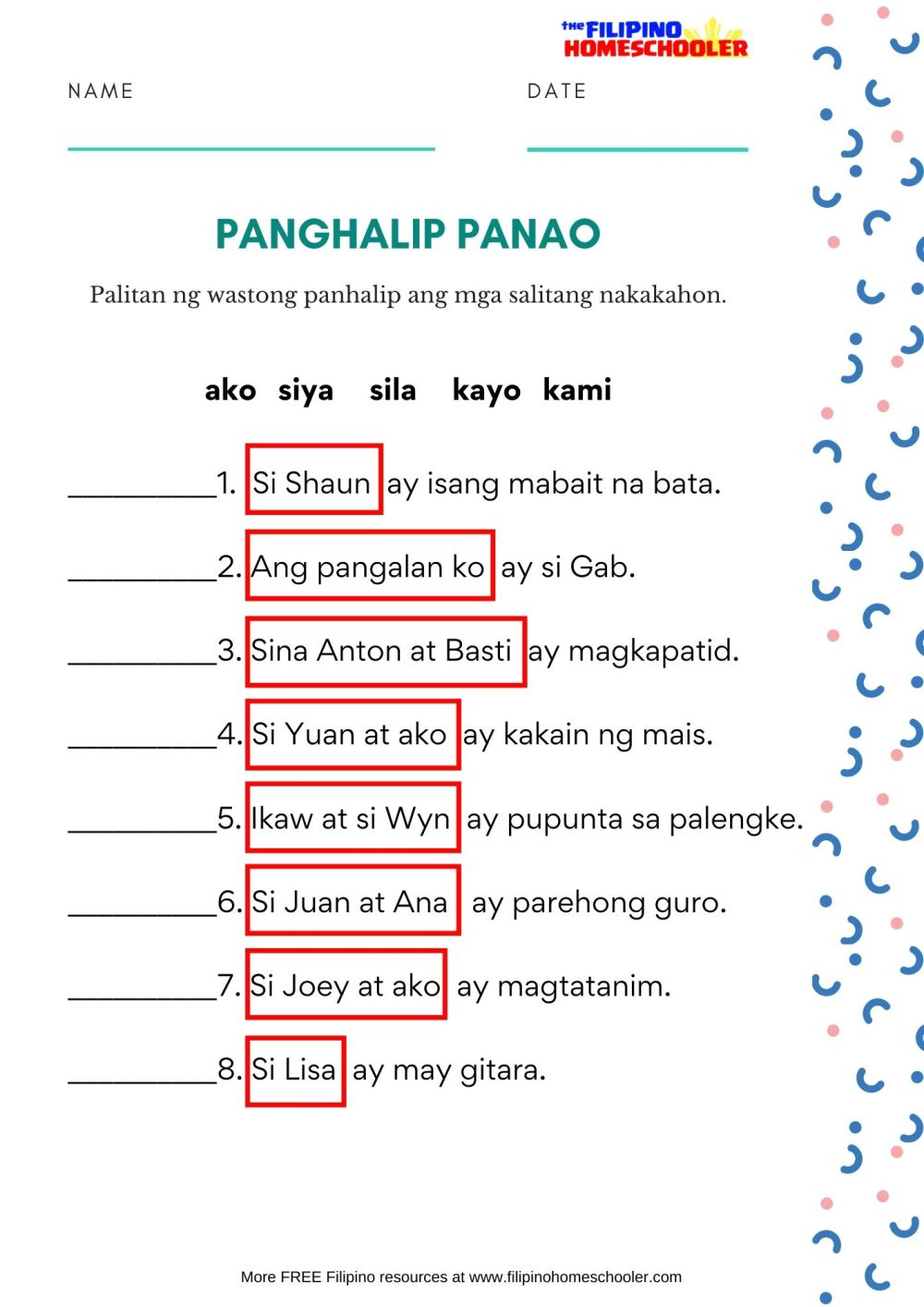 medium resolution of Free Panghalip Panao Worksheet SET 2 — The Filipino Homeschooler